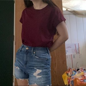 maroon oversized shirt